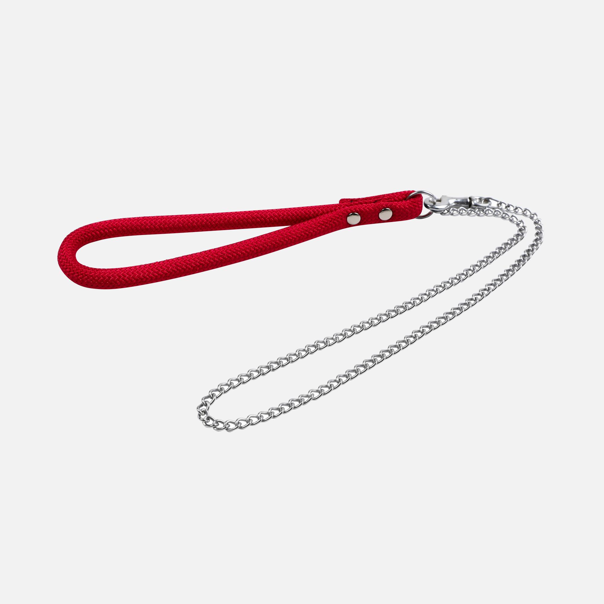 Laisse métal moyenne corde forte Rouge par Wouapy